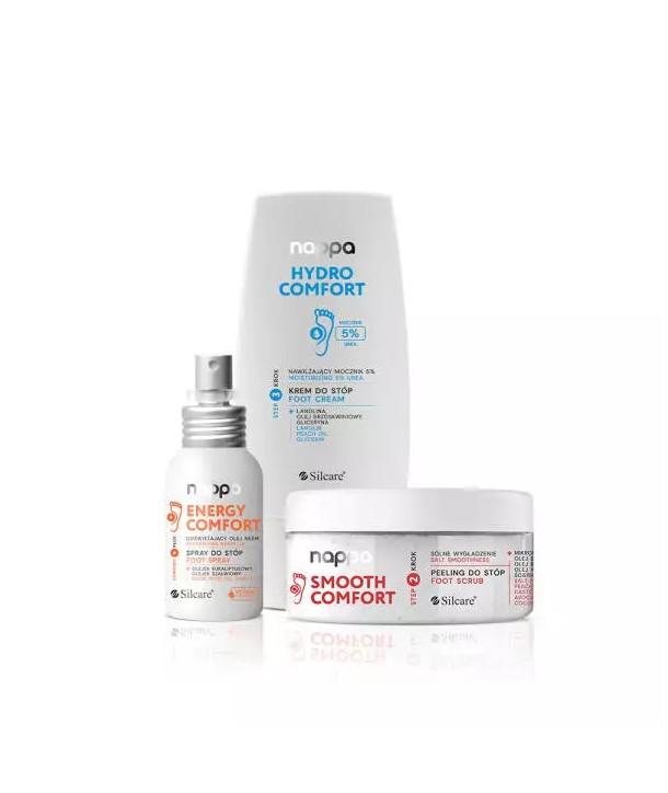 Silcare Nappa Set – Moisurizing Cream 5% Urea 100ml, Neem Oil Spray 50ml, Salt Foot Scrub 400g