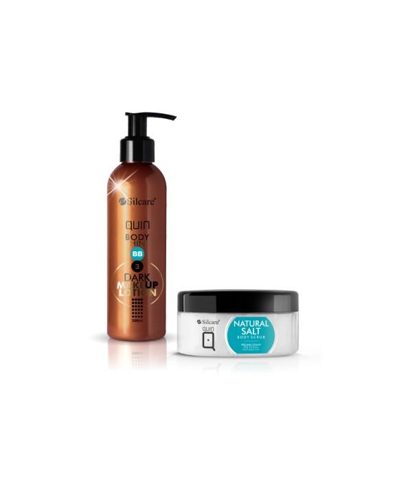 Silcare Quin Set – Salt Peeling 300ml, BB Body Shine Dark 200ml